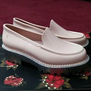 Melissa Pink Silver Rubber Platform Loafers